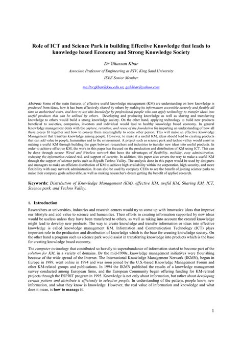 The Design Functions Of A Knowledge Based Pdf Of Ict And Science Park In Building Effective