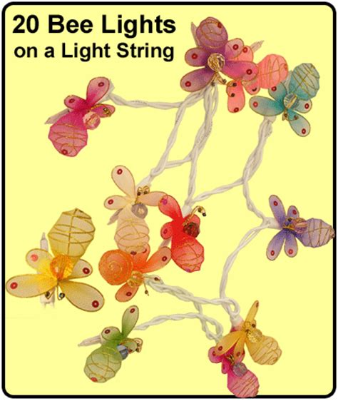 bee light string with 20 honey bee lights