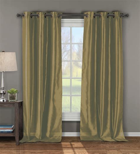 pair of andreas faux silk window curtain panels w grommets