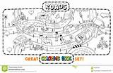 Coloring Road Roads Map Crossings Template sketch template