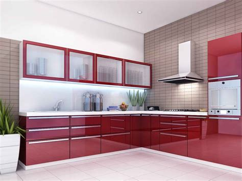 Modular Kitchen Designs Red White [peenmedia]