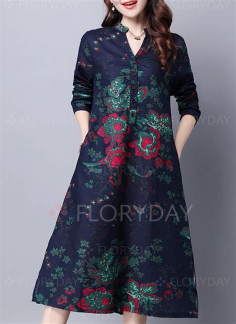 dresses  linen floral long sleeve mid calf