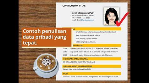 membuat curriculum vitae cv resume biodata contoh