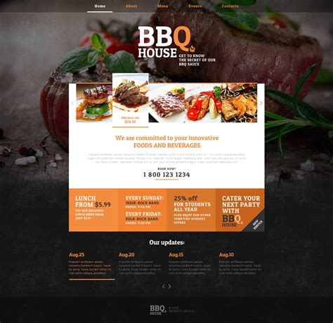 cuisine site bbq restaurant responsive website template 46913