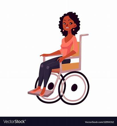 Wheelchair Woman Vector Clipart Sitting Disability Young
