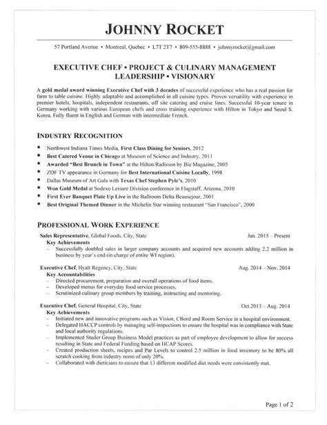 Resume Sles Tips by Resume Templates For Executive Chef Ahlipengertian Info