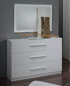 Commode Blanc Laqué : commode 3 tiroirs gloria blanc ~ Teatrodelosmanantiales.com Idées de Décoration