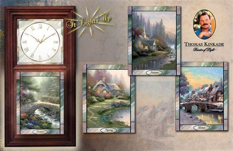 thomas kinkade wall clock  stained glass art time