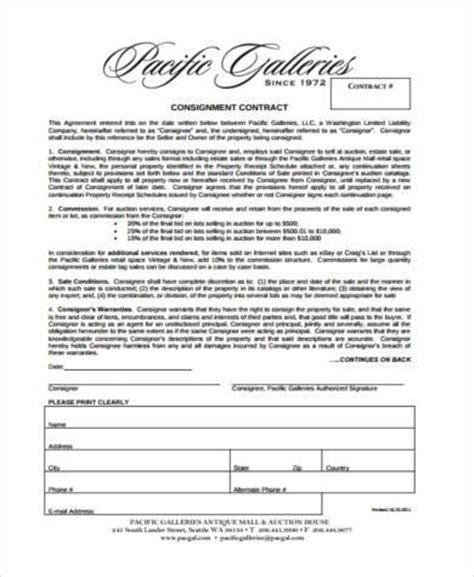 Consignment Store Contract Template by Free Consignment Contract Template Clothing Consignment