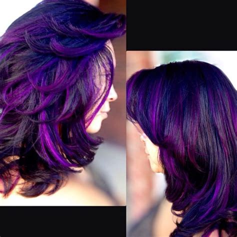 black  purple hairstyles  gorgeous combination