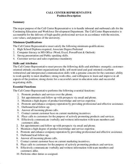 Call Centre Representative Description sle call center description 9 exles in pdf