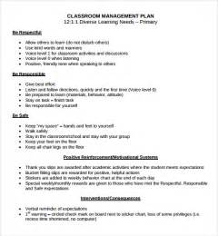 Classroom Management Resume by Sle Classroom Management Plan Template 9 Free