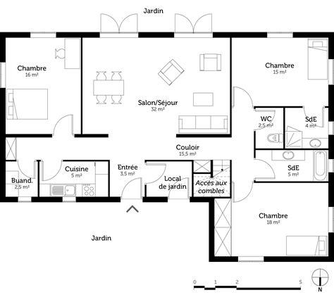 cuisine 6m2 plan maison 3 chambres et 2 salles de bain ooreka