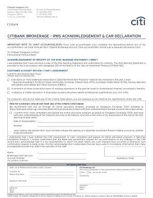 citibank singapore forms fillable online rws acknowledgment car declaration form