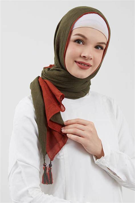 tas les catino sell dafhina pashmina olive pashmina hijabenka