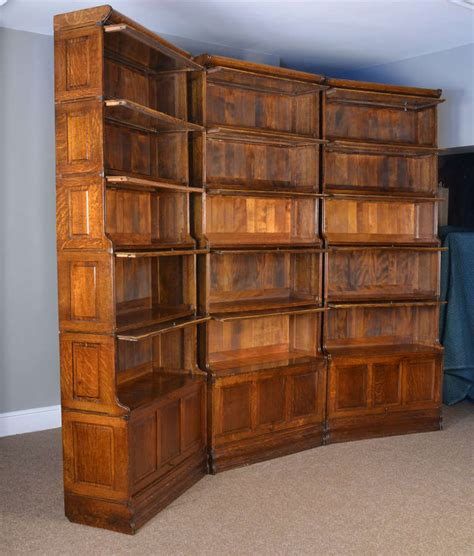 barrister bookcase for sale three large oak sectional waterfall barrister bookcases at