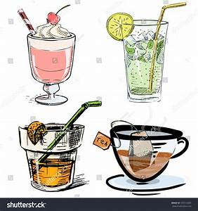 Non Alcoholic Drinks Collection Hand Drawing Stock Vector ...