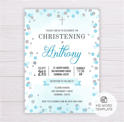 Blue & Silver Dots Christening/Baptism Invitation Template