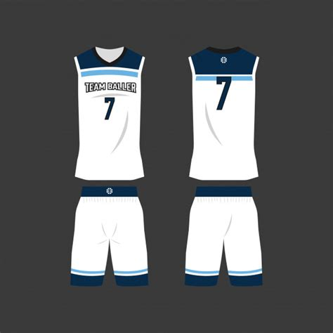 white  blue basketball jersey template vector premium