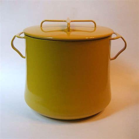 vintage dansk kobenstyle yellow  qt stock pot enamel  metal france  missingmemories