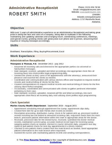 Sles Of Receptionist Resumes by Best Receptionist Resume Exle Livecareer Intended For