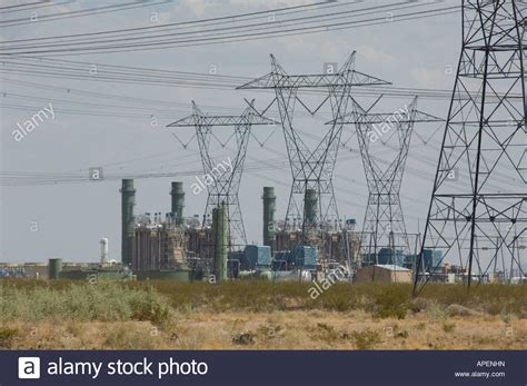 Mesquite Power Plant And Transmission Lines In Arizona