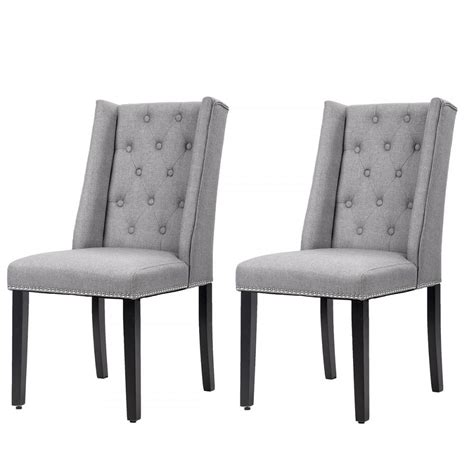 fabric side chairs set of 2 grey dining side chairs button tufted 3652