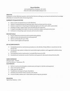 resume format resume format for mechanic With auto technician resume templates