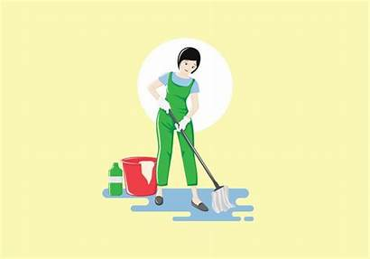 Cleaning Professional Service Female Vector Clipart Graphics