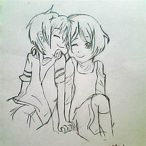 Cute Anime Couple Holding Hands Drawing - Drawing Of Sketch