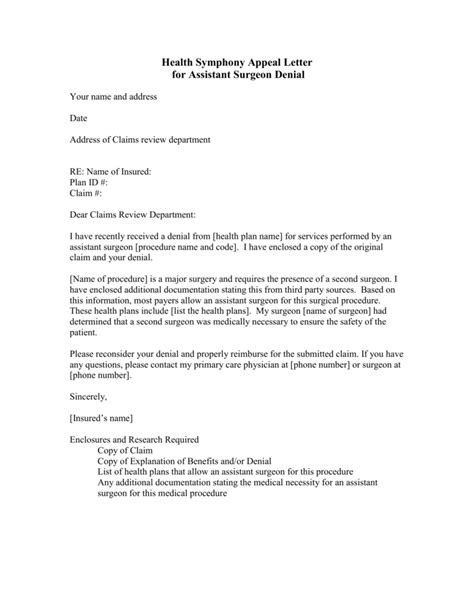 I understand that you denied payment for this treatment because it was administered by an out of network provider. Medical Necessity Appeal Letter Template Collection