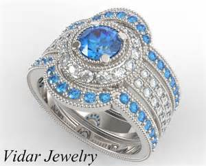 fancy engagement rings filligree fancy blue trio wedding ring set vidar jewelry unique custom engagement