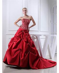 red strapless embroidery pickups color wedding dress With red strapless wedding dresses