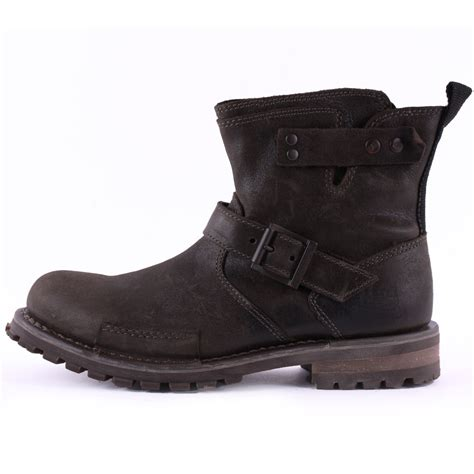 biker boots for caterpillar vern mens leather black biker boots shoes