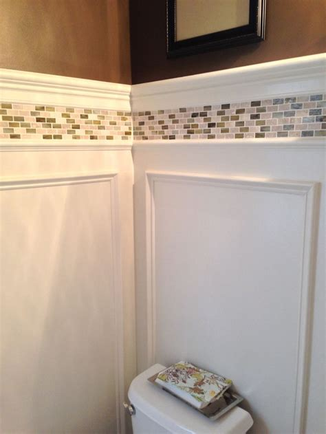 powder room update shadow box wainscoting  tile border