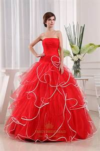 Strapless Red And White Wedding Dress, Strapless Pleated ...