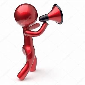 Announcement man megaphone character speaking — Stock ...