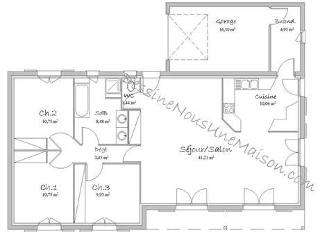 plan maison 3 chambres plain pied garage plans de maisons individuelles avec 3 chambres