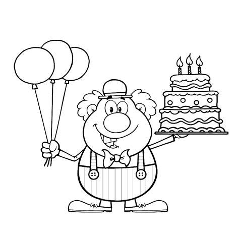 Kleurplaat Clown Met Ballonnen by Leuk Voor Een Clown Met Ballonnen En Taart