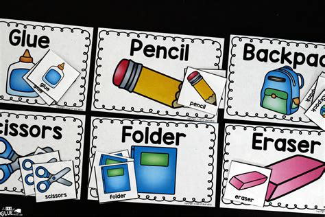 school supplies sort printable a dab of glue will do
