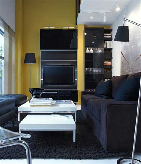 Small Space Living Inspiration Ikea by 2011 Ikea Black And Yellow Living Room With Small Space
