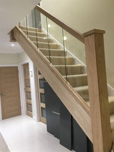 Glass Banisters For Stairs - reflections glass and oak balustrade refurbishment kit