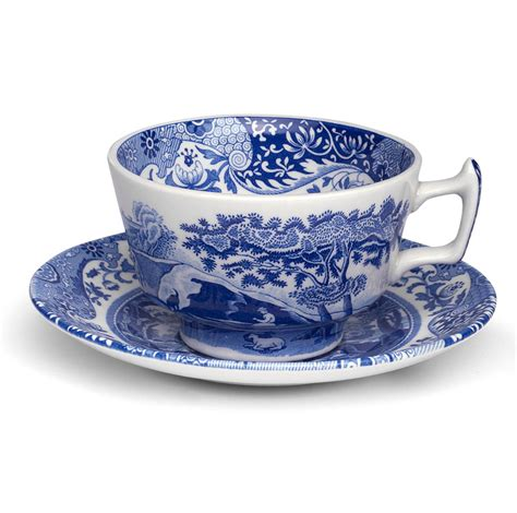 spode blue italian teacup saucer set peters