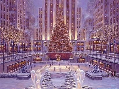Christmas Scene Scenes Winter Scenery Wallpapers Background