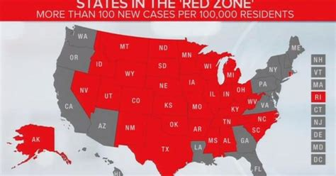 red zone states rise  covid  cases increase