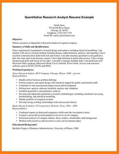 research analyst resume sle