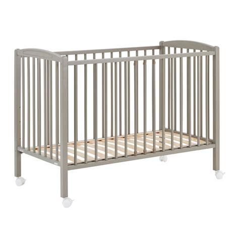 Light Grey Crib by Crib 60x120 Cm Light Grey Varnish Grey Combelle Design Baby