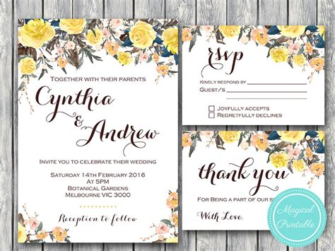 Yellow Rose Wedding Invitation, Rsvp, Thank You