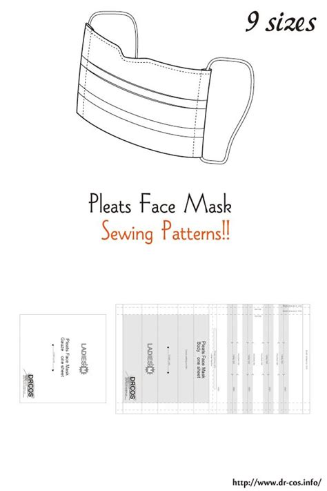 pattern   pleats face mask  size