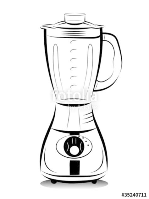 """""""Drawing black and white kitchen blender. Vector"""